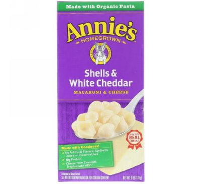 Annie's Homegrown, Ракушки и белый чеддер, Макароны с сыром, 6 унций (170 г)