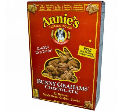 Annie's Homegrown, Шоколадное печенье Bunny Grahams, 7,5 унций (213 г)