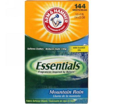 Arm & Hammer, Essentials, салфетки для смягчения ткани, горный дождь, 144 салфетки