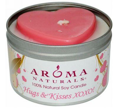 Aroma Naturals, 100% Натуральная Соевая Свеча «Объятья и Поцелуи», 6.5 унций