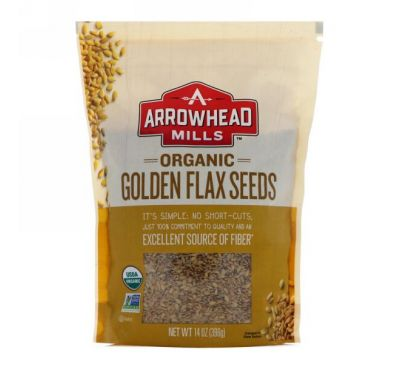 Arrowhead Mills, Натуральные золотистые семена льна, 14 унций (396 г)