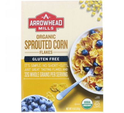 Arrowhead Mills, Органические безглютеновые, хлопья из проросшей кукурузы, 10 унций (283 г)