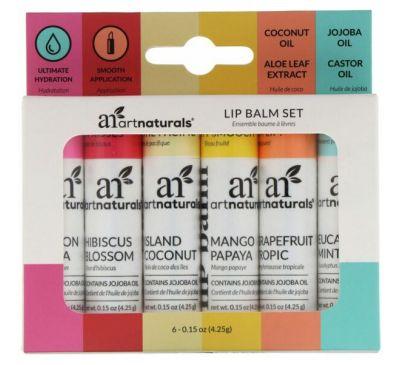 Artnaturals, Lip Balm Set, 6 Lip Balms, 0.15 oz (4.25 g) Each