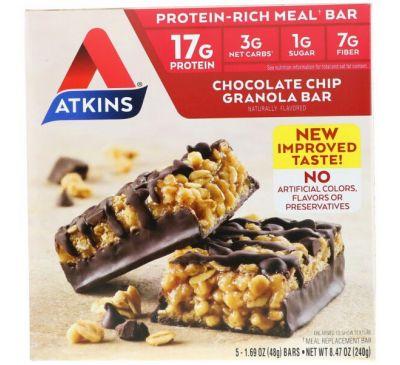 Atkins, Батончик с гранолой и кусочками шоколада, 5 шт., по 1,69 унц. (48 г) каждый