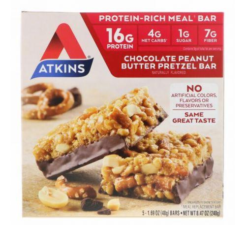 Atkins, Батончики со вкусом претцелей с шоколадно арахисовой пастой, 5 батончиков, 1.69 унций (48 г) каждый