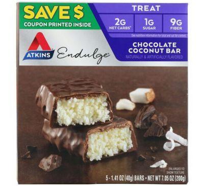 Atkins, Endulge, шоколадные батончики с кокосом, 5 батончиков, 40 г каждый