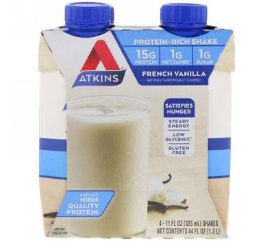 """Atkins, Коктейль """"Французская ваниль"""", 4 коктейля, 11 жидких унций (325 мл) каждый"""