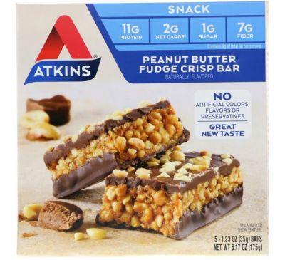 Atkins, Закуска, хрустящий батончик с помадкой с арахисовым маслом, 5 батончиков, пл 1,2 унц. (35 г) каждый