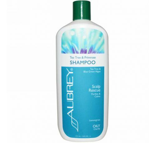 Aubrey Organics, Шампунь, успокаивающий кожу головы, примула и лаванда, 16 жидких унций (473 мл)