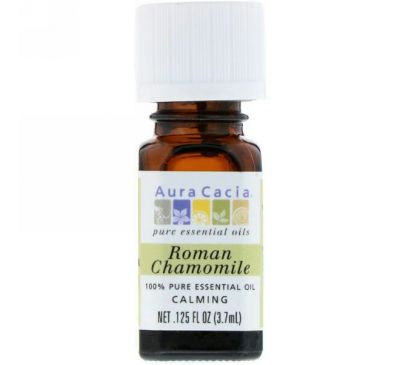 Aura Cacia, 100% Pure Essential Oil, Roman Chamomile, .125 fl oz (3.7 ml)