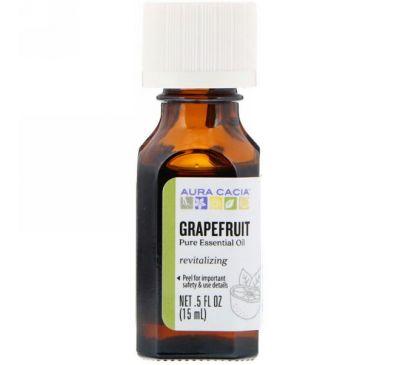 Aura Cacia, 100% чистое эфирное масло, грейпфрут, 0.5 жидких унций (15 мл)