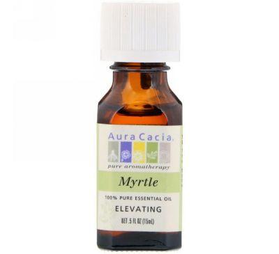 Aura Cacia, 100% чистое эфирное масло мирта для воодушевления , 0.5 жидкой унции (15 мл)