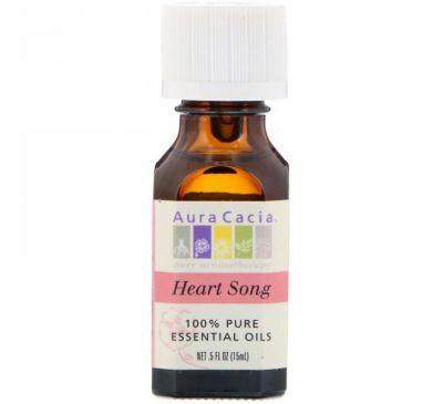 Aura Cacia, 100% чистое эфирное масло «песнь сердца», 0.5 жидкой унции (15 мл)