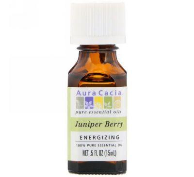 Aura Cacia, 100% чистое эфирное масло ягод можжевельника, 0.5 жидкой унции (15 мл)