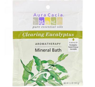 Aura Cacia, Ароматерапевтическое минеральное средство для ванны, освежающий эвкалипт, 2,5 унции (70,9 г)