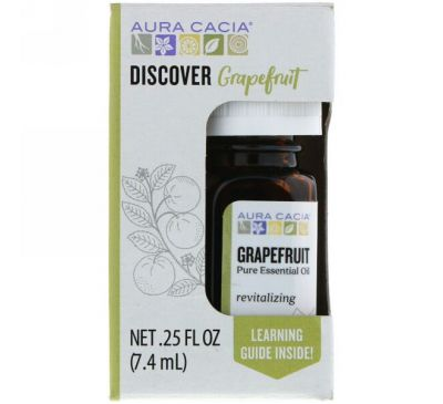 Aura Cacia, Discover Grapefruit, Pure Essential Oil, .25 fl oz (7.4 ml)