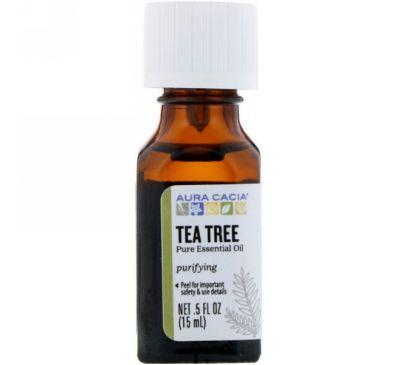 Aura Cacia, Эфирное масло чайного дерева, .5 жидких унций (15 мл)