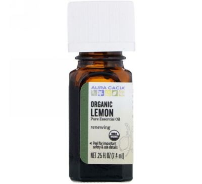Aura Cacia, Organic Lemon, .25 fl oz (7.4 ml)