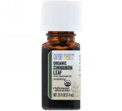 Aura Cacia, Органическое масло из листьев корицы, 0,25 жидких унций (7,4 мл)