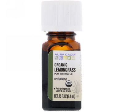 Aura Cacia, Pure Essential Oil, Organic, Lemongrass, 0.25 fl oz (7.4 ml)