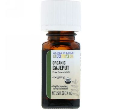 Aura Cacia, Pure Essential Oil, Organic Cajeput, .25 fl oz (7.4 ml)