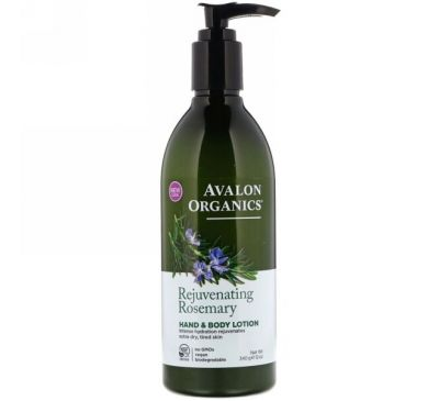Avalon Organics, Hand & Body Lotion, Rejuvenating Rosemary, 12 oz (340 g)