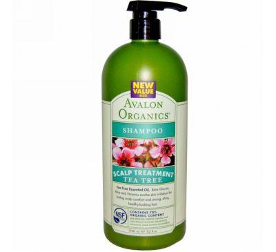 Avalon Organics, Шампунь,терапия для кожи головы, чайное дерево, 32 жидких унций (946 мл)