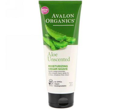 Avalon Organics, Увлажняющий крем для бритья, с алоэ, без запаха, 8 унций (227 мл)