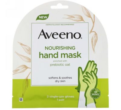 Aveeno, Nourishing Hand Mask, 2 Single-Use Gloves