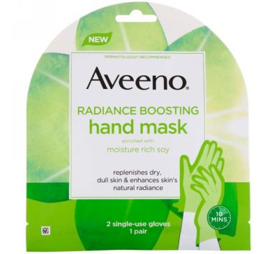 Aveeno, Radiance Boosting Hand Mask, 2 Single-Use Gloves