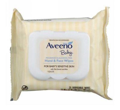 Aveeno, Салфетки для рук и лица для малышей, 25 одноразовых салфеток