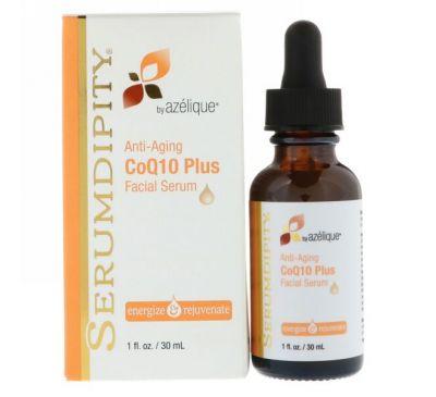 Azelique, Serumdipity, CoQ10 Плюс Сыворотка для лица, Антивозрастная, 1 ж. унц.(30 мл)