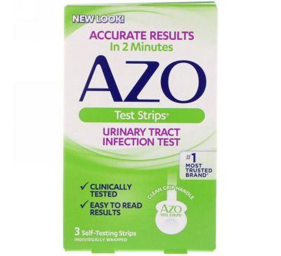 Azo, Тест-полоски для выявления инфекций мочевыводящих путей, 3 полоски для самодиагностики