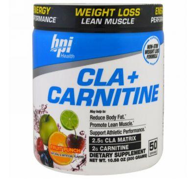 BPI Sports, конъюгированная линолевая кислота + карнитин, фруктовый пунш, 10,58 унц. (300 г)