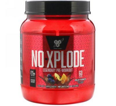 BSN, N.O.-Xplode, легендарное предтренировочное средство, фруктовый пунш, 2,45 фунта (1,11 кг)