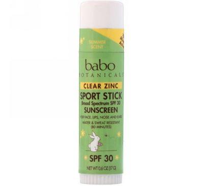 Babo Botanicals, Бесцветный солнцезащитный крем с цинком, спортивный карандаш, SPF 30, 17 г (0,6 унций)