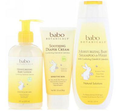 Babo Botanicals, Подарочный набор для новорожденного, с овсяным молочком и календулой, из 3 частей