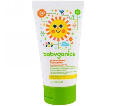BabyGanics, Чистый минеральный солнцезащитный лосьон, фактор защиты SPF 30, 118 мл (4 унции)