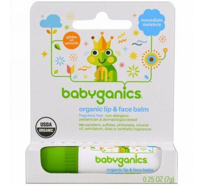 BabyGanics, Органический бальзам для губ и лица, 7 г (0,25 унции)