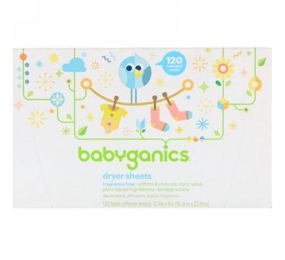 BabyGanics, Салфетки с пропиткой мягчителем, не содержат отдушек, 120 салфеток с мягчителем ткани