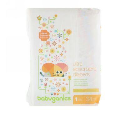 BabyGanics, Ультравпитывающие подгузники, размер 1, 8-14 фунтов (4-6 кг), 34 шт