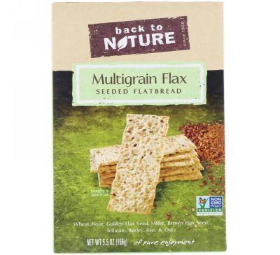 Back to Nature, Многозерновые хрустящие хлебцы с льняным семенем, 5.5 унций (156 г)