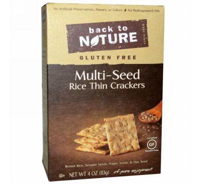 Back to Nature, Тонкие рисовые крекеры с различными семенами без глютена, 4 унции (113 г)