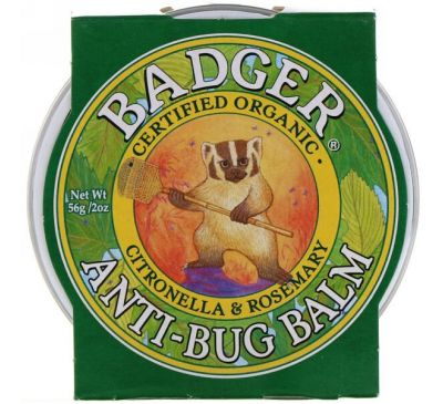 Badger Company, Бальзам для защиты от насекомых с цитронеллой и розмарином, 2 унции (56 г)