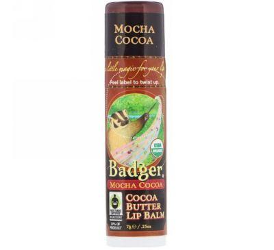 Badger Company, Organic, Cocoa Butter Lip Balm, Mocha Cocoa, .25 oz (7 g)