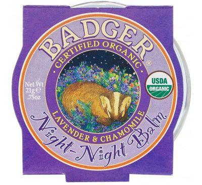 Badger Company, Organic, Night-Night Balm, Lavender & Chamomile, .75 oz (21 g)