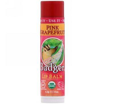 Badger Company, Органический бальзам для губ, розовый грейпфрут, 4,2 г