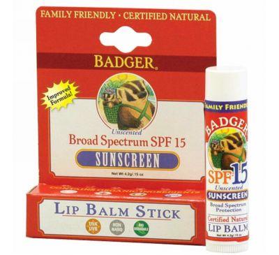 Badger Company, Солнцезащитный крем бальзам для губ, SPF 15, Без запаха, 0,15 унции (4,2 г)