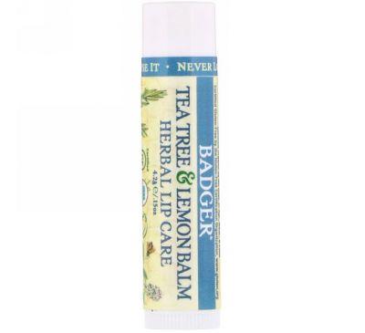 Badger Company, Травяной бальзам для губ с чайным деревом и лимоном, 0.14 унций (4.2 г)