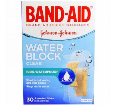 Band Aid, Липкий пластырь, Water Block, прозрачный, 30 размеров в ассортименте